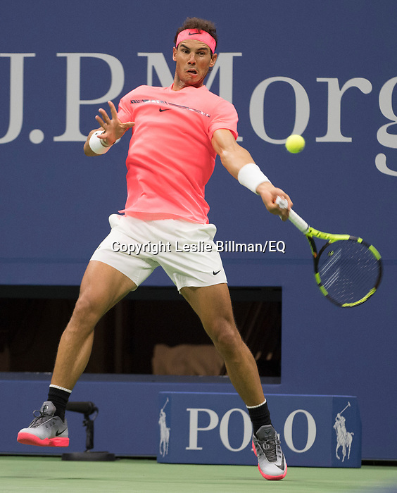 Rafael Nadal plays at the US Open being played on September  2, 2017 at Billy Jean King Ntional Tennis Center in Flushing, Queens, New York.  ©Leslie Billman/EQ