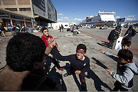 Pictured: Children play at the port Thursday 03 March 2016<br />