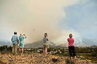 Santa Barbara, California: group of people view jesusita fire as it burns. May 8, 2009