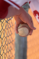 Indiana Hoosiers Austin Foote holding a baseball in the dugout during a game against the Seton Hall Pirates on March 5, 2016 at North Charlotte Regional Park in Port Charlotte, Florida.  Seton Hall defeated Indiana 6-4.  (Mike Janes/Four Seam Images)