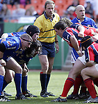 30 April 2005: Preparing to scrum. The Kansas City Blues defeated the Philadelphia Whitemarsh RFC 41-14 at the Arrowhead Stadium in Kansas City, Missouri in a Rugby Super League regular season game. .