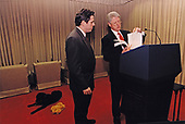 United States President Bill Clinton and Michael Waldman, Assistant to the President and Director of Speechwriting, working on the State of the Union speech in the White House Theatre in Washington, DC on January 26, 1998.<br /> Mandatory Credit: Barbara Kinney / White House via CNP