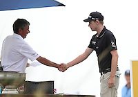 Kevin Phelan (IRL) is welcomed to the 1st tee ahead of his Round Three of The Tshwane Open 2014 at the Els (Copperleaf) Golf Club, City of Tshwane, Pretoria, South Africa. Picture:  David Lloyd / www.golffile.ie
