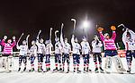 Stockholm 2014-11-14 Bandy Elitserien Hammarby IF - Edsbyns IF :  <br /> Edsbyns spelare firar segern efter matchen med Edsbyns supportrar<br /> (Foto: Kenta J&ouml;nsson) Nyckelord:  Elitserien Bandy Zinkensdamms IP Zinkensdamm Zinken Hammarby Bajen HIF HeIF Edsbyn EIF Byn jubel gl&auml;dje lycka glad happy supporter fans publik supporters
