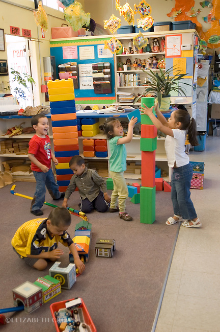 Berkeley CA  Cooperative and solitary play at preschool.