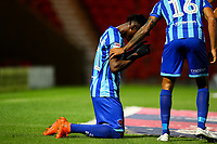 Blackpool's Armand Gnanduillet celebrates after scoring the only goal <br /> <br /> Photographer Alex Dodd/CameraSport<br /> <br /> The EFL Sky Bet League One - Doncaster Rovers v Blackpool - Tuesday September 17th 2019 - Keepmoat Stadium - Doncaster<br /> <br /> World Copyright © 2019 CameraSport. All rights reserved. 43 Linden Ave. Countesthorpe. Leicester. England. LE8 5PG - Tel: +44 (0) 116 277 4147 - admin@camerasport.com - www.camerasport.com