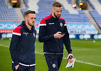 Bolton Wanderers' Craig Noone and Mark Beevers inspecting the pitch before the match<br /> <br /> Photographer Andrew Kearns/CameraSport<br /> <br /> The EFL Sky Bet Championship - Wigan Athletic v Bolton Wanderers - Saturday 16th March 2019 - DW Stadium - Wigan<br /> <br /> World Copyright &copy; 2019 CameraSport. All rights reserved. 43 Linden Ave. Countesthorpe. Leicester. England. LE8 5PG - Tel: +44 (0) 116 277 4147 - admin@camerasport.com - www.camerasport.com