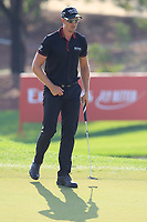 Henrik Stenson (SWE) on the 15th green during the final round of the DP World Tour Championship, Jumeirah Golf Estates, Dubai, United Arab Emirates. 18/11/2018<br /> Picture: Golffile | Fran Caffrey<br /> <br /> <br /> All photo usage must carry mandatory copyright credit (© Golffile | Fran Caffrey)