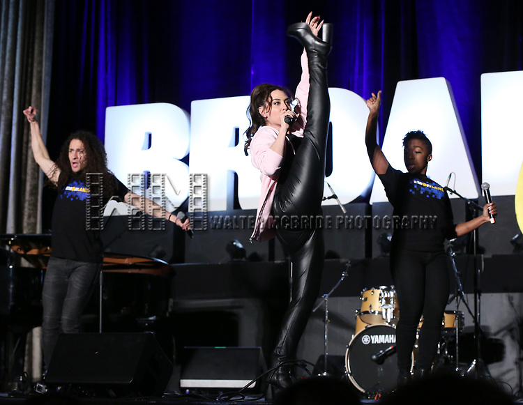 """Jordan Fife Hunt, Lesli Margherita and Tanisha Moore from """"Emojiland"""" during the BroadwayCON 2020 First Look at the New York Hilton Midtown Hotel on January 24, 2020 in New York City."""