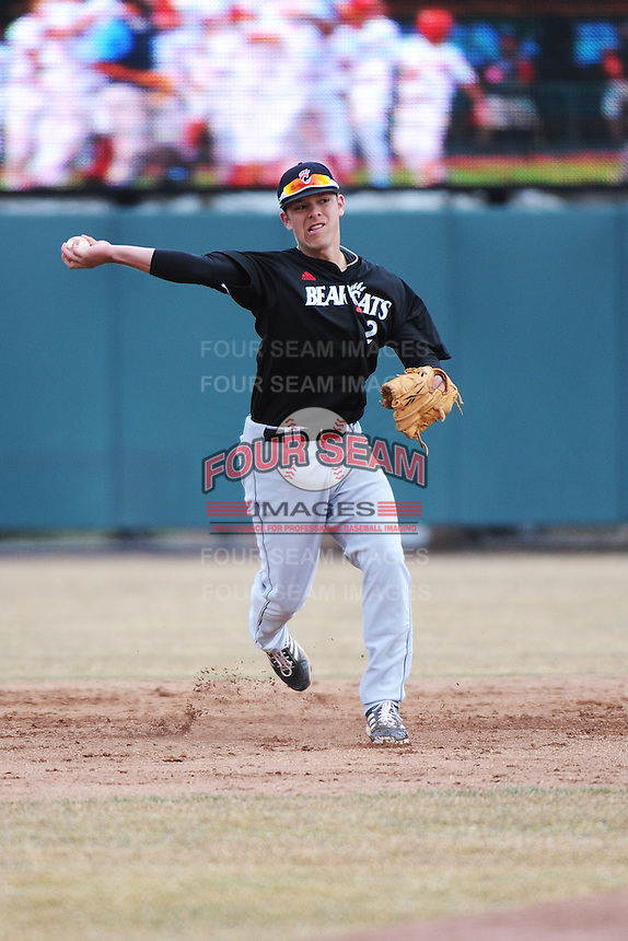 Cincinnati Bearcats infielder Colin Hawk (2) during 1st game of double header against the St. John's Redstorm at Jack Kaiser Stadium on March 28, 2013 in Queens, New York. St. John's defeated Cincinnati 6-5.      . (Tomasso DeRosa/ Four Seam Images)