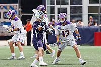 Josh Egan (#43) defends Joseph Sessa  (#3) as Yale defeats UAlbany 20-11 in the NCAAA semifinal game at Gillette Stadium, May 26.