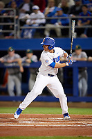 Florida Gators left fielder Austin Langworthy (44) at bat during a game against the Siena Saints on February 16, 2018 at Alfred A. McKethan Stadium in Gainesville, Florida.  Florida defeated Siena 7-1.  (Mike Janes/Four Seam Images)