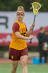 Los Angeles, CA 02/28/14 - Caroline Cordrey (USC #15) in action during the Marist Red Foxes vs University of Southern California Trojans NCAA Women's lacrosse game at Loker Track Stadium on the USC Campus.  Marist defeated USC 12-10.