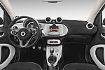 Stock photo of straight dashboard view of a 2015 Smart FORTWO PRIME 3 Door Micro Car Dashboard