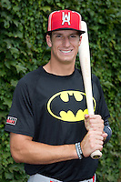Mitchell Hansen (16) of Plano High School in Plano, Texas poses for a photo during practice before the Under Armour All-American Game on August 16, 2014 at Wrigley Field in Chicago, Illinois.  (Mike Janes/Four Seam Images)