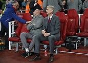 2nd November 2017, Emirates Stadium, London, England; UEFA Europa League group stage, Arsenal versus Red Star Belgrade; Arsenal manager Arsene Wenger looking on from the dugout