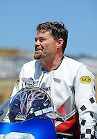 Jul. 17, 2010; Sonoma, CA, USA; NHRA pro stock motorcycle rider Chris MacLaurin during qualifying for the Fram Autolite Nationals at Infineon Raceway. Mandatory Credit: Mark J. Rebilas-