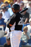 Toronto Blue Jays outfielder Juan Rivera #20 at bat during a Spring Training game vs the Detroit Tigers at Florida Auto Exchange Stadium in Dunedin, Florida;  February 26, 2011.  Detroit defeated Toronto 4-0.  Photo By Mike Janes/Four Seam Images
