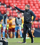 Derek McInnes gestures to the stand as Motherwell celebrate their second goal