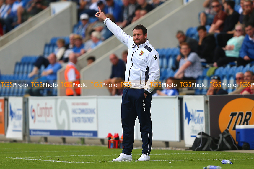 Stevenage manager Darren Sarll during Colchester United vs Stevenage, Sky Bet EFL League 2 Football at the Weston Homes Community Stadium on 12th August 2017