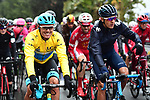 The peleton including race leader Yellow Jersey Luis Leon Sanchez (ESP) Astana Pro Team during Stage 7 of the 2018 Paris-Nice running 175km from Nice to Valdeblore la Colmiane, France. 10th March 2018.<br /> Picture: ASO/Alex Broadway | Cyclefile<br /> <br /> <br /> All photos usage must carry mandatory copyright credit (&copy; Cyclefile | ASO/Alex Broadway)