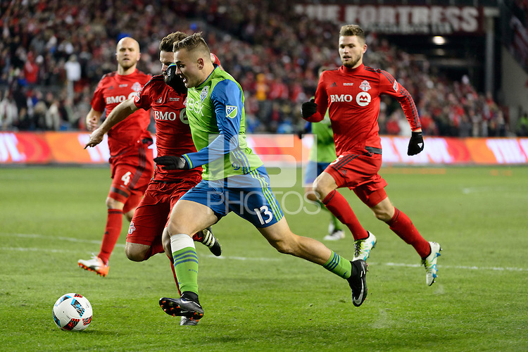 Toronto, ON, Canada - Saturday Dec. 10, 2016: Drew Moor, Jordan Morris during the MLS Cup finals at BMO Field. The Seattle Sounders FC defeated Toronto FC on penalty kicks after playing a scoreless game.