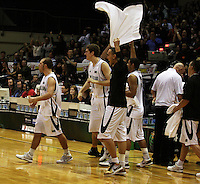 Tall Blacks players celebrate during the International basketball match between the NZ Tall Blacks and Australian Boomers at TSB Bank Arena, Wellington, New Zealand on 25 August 2009. Photo: Dave Lintott / lintottphoto.co.nz