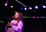 Natalie Douglas performing onstage at Birdland Theater during the Media Open House Cocktail Party at the Birdland Theater on September 20, 2018 in New York City.