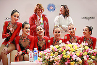 Spanish rhythmic group poses for portrait at Kiss &amp; Cry area at 2006 Mie World Cup Finale of rhythmic gymnastics on November17, 2006.<br />