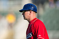 Lakewood BlueClaws manager Marty Malloy (2) coaches third base during the game against the Kannapolis Intimidators at Kannapolis Intimidators Stadium on April 9, 2017 in Kannapolis, North Carolina.  The BlueClaws defeated the Intimidators 7-1.  (Brian Westerholt/Four Seam Images)