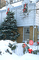 Residential house decorated in full Christmas regalia. St Paul Minnesota USA
