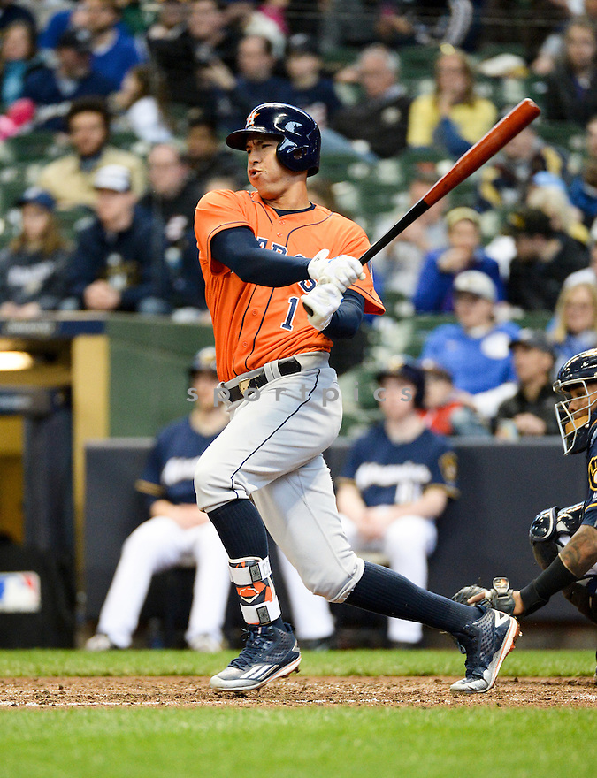 Houston Astros Carlos Correa (1) during a game against the Milwaukee Brewers on April 10, 2016 at Miller Park in Milwaukee, WI. The Brewers beat the Astros 3-2.