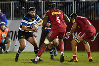 Will Vaughan of Bath United in possession. Aviva A-League match, between Bath United and Harlequins A on March 26, 2018 at the Recreation Ground in Bath, England. Photo by: Patrick Khachfe / Onside Images