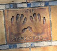 Hand print of the film star and director, Dennis Hopper, outside the Palais des Festivals et des Congres, Cannes, France.