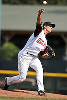 Rochester Red Wings relief pitcher Kyle Waldrop #27 delivers a pitch during a game against the Norfolk Tides at Frontier Field on June 5, 2011 in Rochester, New York.  Norfolk defeated Rochester 11-5 in eleven innings.  Photo By Mike Janes/Four Seam Images
