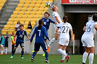 Japan&rsquo;s Rin Sumida and Ferns&rsquo; Hannah Wilkinson in action during the  International Football - Football Ferns v Japan  at Westpac Stadium, Wellington, New Zealand on Sunday 10 June 2018.<br /> Photo by Masanori Udagawa. <br /> www.photowellington.photoshelter.com