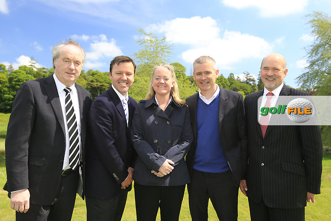 L-R Tony Lenehan Head of Golf Tourism Failte Ireland, James Finnigan Commercial Director Irish Open, Antonia Beggs Championship Director Irish Open, Conor Mallaghan Managing Partner Carton House and Peter Minnock Director of Services Kildare County Council  Irish Open 2013 Media Day held at Carton House Golf Club, Co.Kildare, Ireland 29th May 2013.<br /> Picture: Eoin Clarke www.golffile.ie