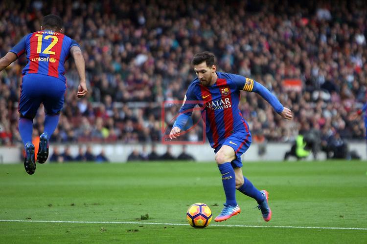 League Santander 2016/2017. Game: 21.<br /> FC Barcelona vs Athletic Club: 3-0.<br /> Lionel Messi.