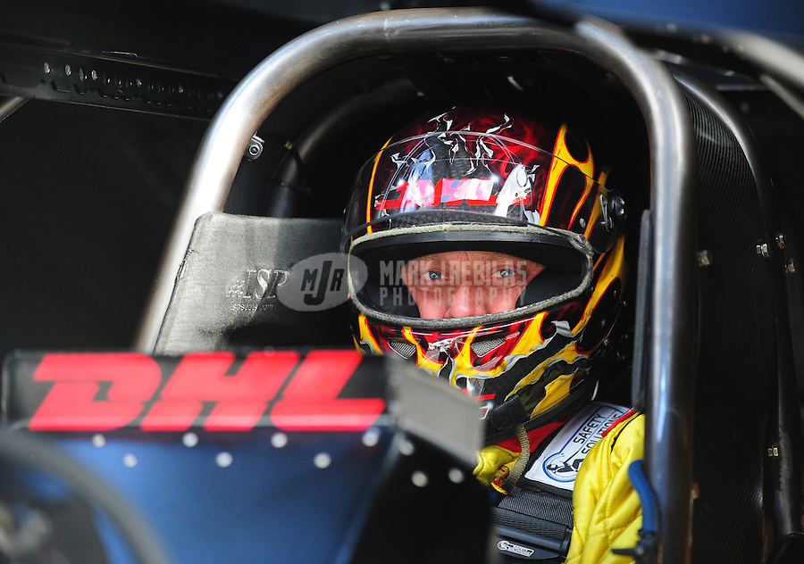 Feb. 24, 2011; Pomona, CA, USA;  NHRA funny car driver Jeff Arend during qualifying for the Winternationals at Auto Club Raceway at Pomona. Mandatory Credit: Mark J. Rebilas-
