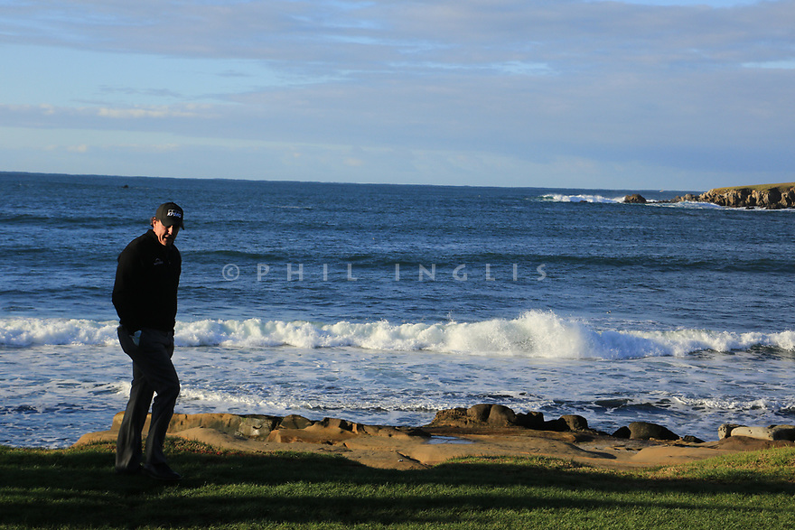 Phil Mickelson (USA) walks from the 18th tee during the final round of the AT&T Pro-Am, Pebble Beach Golf Links, Monterey, USA. 11/02/2019<br /> Picture: Golffile | Phil Inglis<br /> <br /> <br /> All photo usage must carry mandatory copyright credit (© Golffile | Phil Inglis)