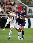 2 December 2005: PSU's Zoe Bouchelle (l) grabs the jersey of Portland's Christine Sinclair. The University of Portland Pilots defeated the Penn State Nittany Lions 4-3 on penalty kicks after the teams played to a 0-0 overtime tie in their NCAA Division I Women's College Cup semifinal at Aggie Soccer Stadium in College Station, TX.