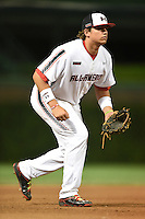 Austin Riley (13) of DeSoto Central High School in Hernando, Mississippi during the Under Armour All-American Game on August 16, 2014 at Wrigley Field in Chicago, Illinois.  (Mike Janes/Four Seam Images)