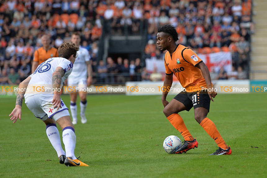 Shaquile Coulthirst of Barnet and Glen Rea of Luton Town during Barnet vs Luton Town, Sky Bet EFL League 2 Football at the Hive Stadium on 12th August 2017