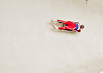 4 December 2015: Shiva Keshavan, sliding for India, enters a curve during his first run of the Viessmann Luge World Cup at the Olympic Sports Track in Lake Placid, New York, USA. Mandatory Credit: Ed Wolfstein Photo *** RAW (NEF) Image File Available ***