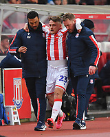 Stoke City's Thibaud Verlinden is helped off the pitch with a broken leg<br /> <br /> Photographer Dave Howarth/CameraSport<br /> <br /> The EFL Sky Bet Championship - Stoke City v Preston North End - Wednesday 12th February 2020 - bet365 Stadium - Stoke-on-Trent <br /> <br /> World Copyright © 2020 CameraSport. All rights reserved. 43 Linden Ave. Countesthorpe. Leicester. England. LE8 5PG - Tel: +44 (0) 116 277 4147 - admin@camerasport.com - www.camerasport.com