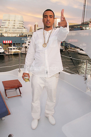 "NEW YORK, NY - SEPTEMBER 8: French Montana on the set of Fat Joe & Jennifer Lopez video shoot for ""Stressin"" September 8, 2014 in New York City. Credit: Walik Goshorn/MediaPunch"