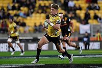 Hurricanes&rsquo; Jordie Barrett in action during the Super Rugby - Hurricanes v Chiefs at Westpac Stadium, Wellington, New Zealand on Saturday  27 April 2019. <br /> Photo by Masanori Udagawa. <br /> www.photowellington.photoshelter.com