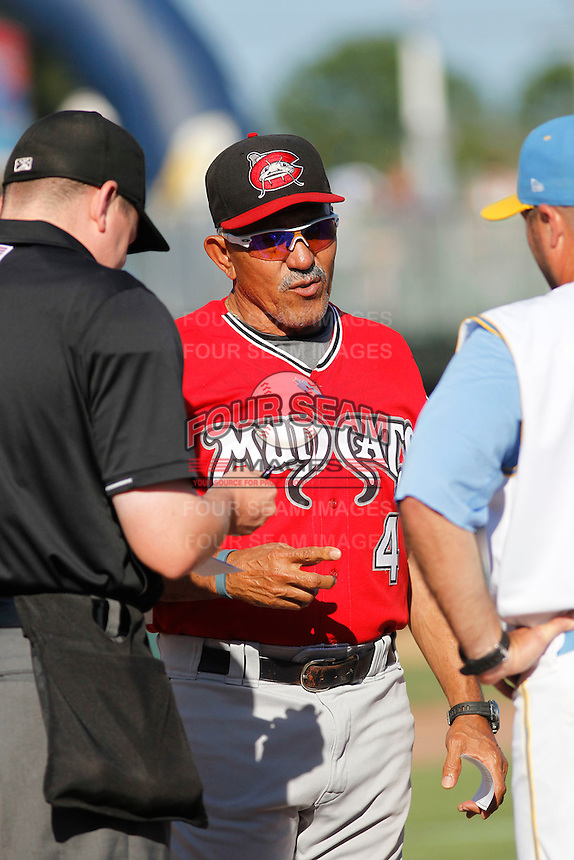 Carolina Mudcats manager Luis Salazar (4) meeting at the plate before a game against the Myrtle Beach Pelicans at Ticketreturn.com Field at Pelicans Ballpark on June 7, 2015 in Myrtle Beach, South Carolina. Myrtle Beach defeated Carolina 4-1. (Robert Gurganus/Four Seam Images)