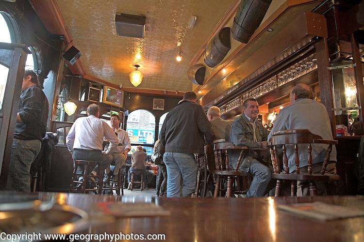 Interior East End traditional local pub, London, England