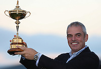 Victorious European Ryder Cup Team Captain Paul McGinley with the Ryder Cup at Gleneagles, Perthshire, Scotland. Picture:  David Lloyd / www.golffile.ie